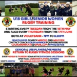 STARTS 18TH MAY: SENIOR WOMEN/U18 GIRLS RETURN TO RUGBY TRAINING